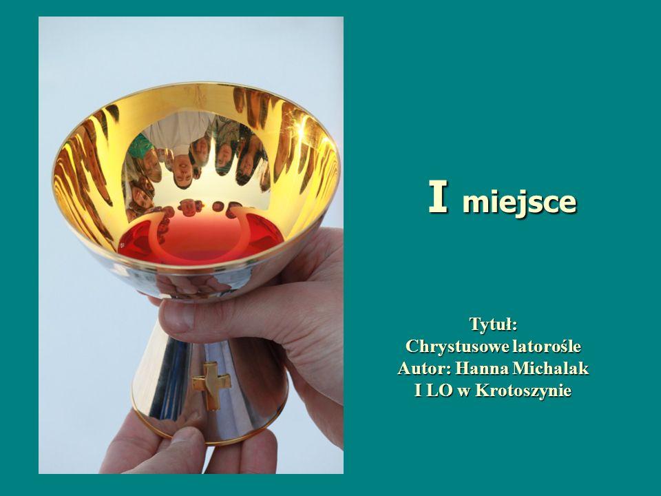 Tytuł: Chrystusowe latorośle Autor: Hanna Michalak I LO w Krotoszynie I miejsce