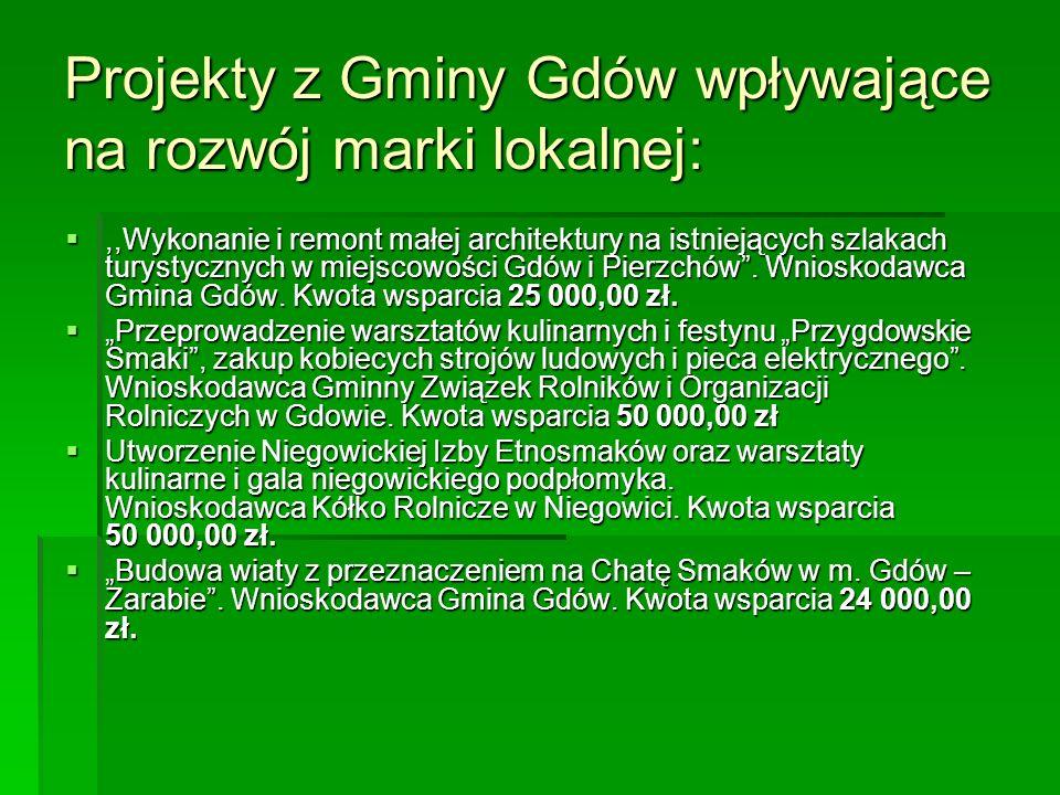 Projekty z Gminy Gdów wpływające na rozwój marki lokalnej: ,,Wykonanie i remont małej architektury na istniejących szlakach turystycznych w miejscowości Gdów i Pierzchów .
