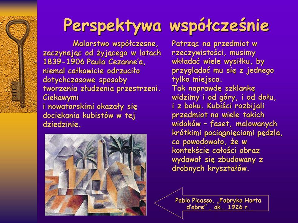 Perspektywa współcześnie Malarstwo współczesne, zaczynając od żyjącego w latach 1839-1906 Paula Cezanne'a, niemal całkowicie odrzuciło dotychczasowe s