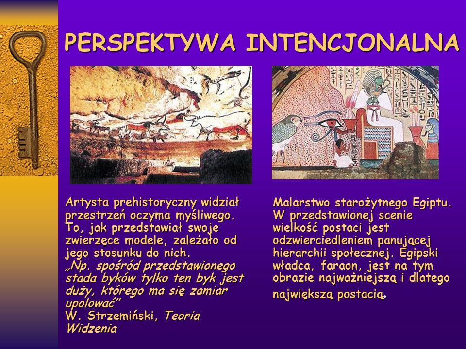 PERSPEKTYWA INTENCJONALNA Artysta prehistoryczny widział przestrzeń oczyma myśliwego. To, jak przedstawiał swoje zwierzęce modele, zależało od jego st