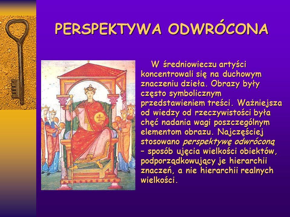 PERSPEKTYWA ODWRÓCONA W średniowieczu artyści koncentrowali się na duchowym znaczeniu dzieła. Obrazy były często symbolicznym przedstawieniem treści.