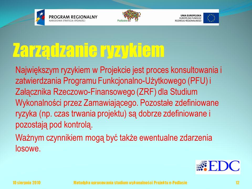 Zarządzanie ryzykiem Największym ryzykiem w Projekcie jest proces konsultowania i zatwierdzania Programu Funkcjonalno-Użytkowego (PFU) i Załącznika Rzeczowo-Finansowego (ZRF) dla Studium Wykonalności przez Zamawiającego.