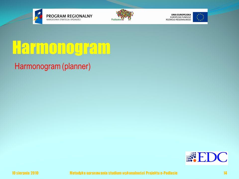 Harmonogram Harmonogram (planner) 10 sierpnia 2010Metodyka opracowania studium wykonalności Projektu e-Podlasie14