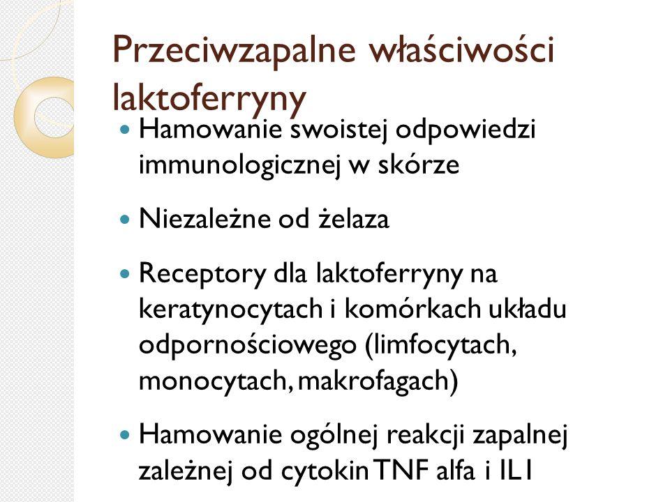 Przeciwzapalne właściwości laktoferryny Hamowanie swoistej odpowiedzi immunologicznej w skórze Niezależne od żelaza Receptory dla laktoferryny na kera