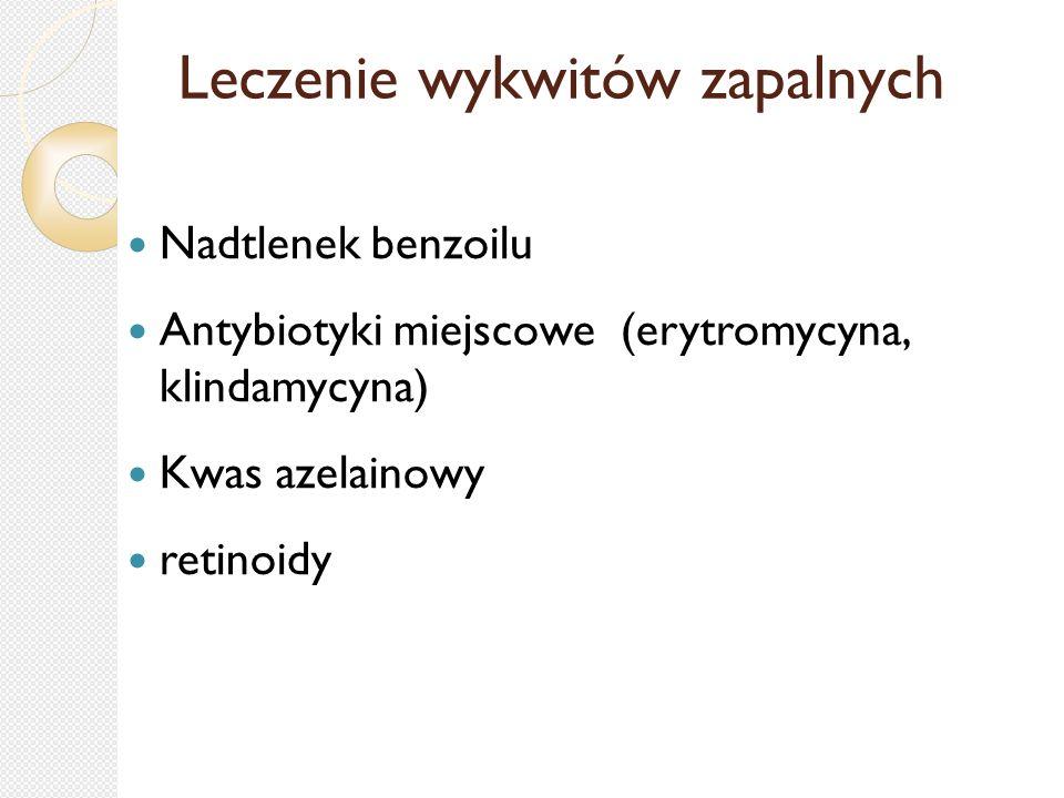 Leczenie wykwitów zapalnych Nadtlenek benzoilu Antybiotyki miejscowe (erytromycyna, klindamycyna) Kwas azelainowy retinoidy
