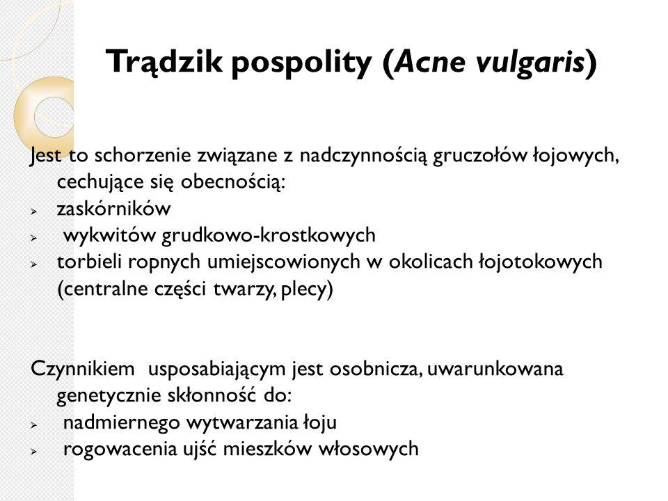 Trądzik pospolity (Acne vulgaris) Jest to schorzenie związane z nadczynnością gruczołów łojowych, cechujące się obecnością:  zaskórników  wykwitów g