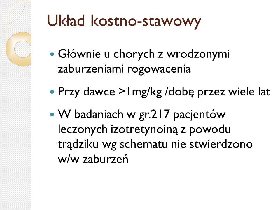 Układ kostno-stawowy Głównie u chorych z wrodzonymi zaburzeniami rogowacenia Przy dawce >1mg/kg /dobę przez wiele lat W badaniach w gr.217 pacjentów l