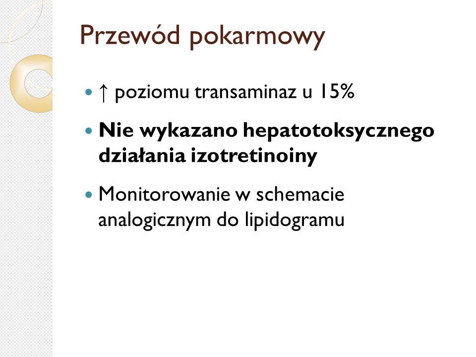 Przewód pokarmowy ↑ poziomu transaminaz u 15% Nie wykazano hepatotoksycznego działania izotretinoiny Monitorowanie w schemacie analogicznym do lipidog