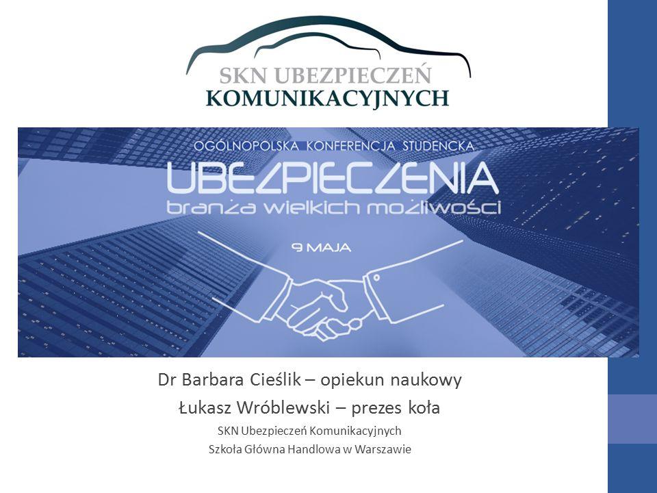 Dr Barbara Cieślik – opiekun naukowy Łukasz Wróblewski – prezes koła SKN Ubezpieczeń Komunikacyjnych Szkoła Główna Handlowa w Warszawie