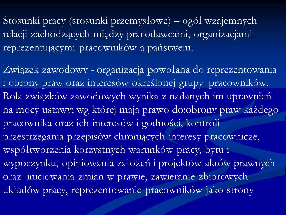 Stosunki pracy (stosunki przemysłowe) – ogół wzajemnych relacji zachodzących między pracodawcami, organizacjami reprezentującymi pracowników a państwem.