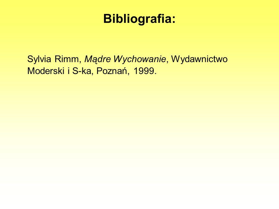 Bibliografia: Sylvia Rimm, Mądre Wychowanie, Wydawnictwo Moderski i S-ka, Poznań, 1999.