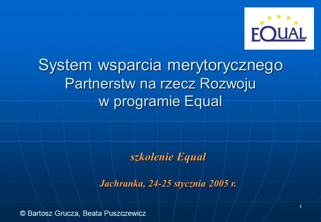 1 System wsparcia merytorycznego Partnerstw na rzecz Rozwoju w programie Equal szkolenie Equal Jachranka, 24-25 stycznia 2005 r.