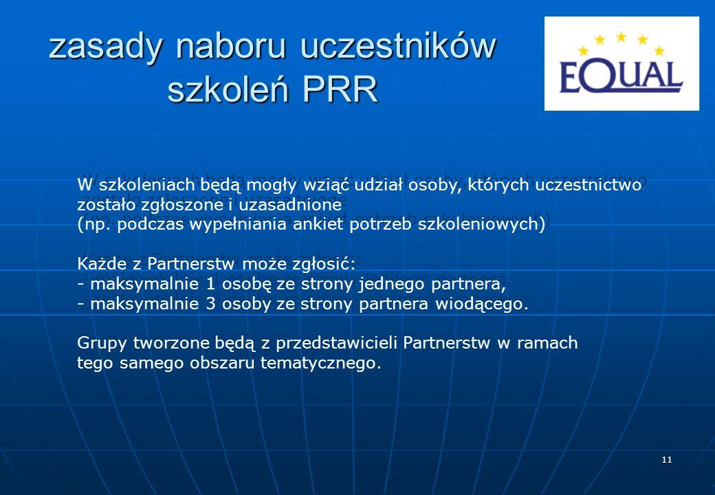 11 zasady naboru uczestników szkoleń PRR W szkoleniach będą mogły wziąć udział osoby, których uczestnictwo zostało zgłoszone i uzasadnione (np.