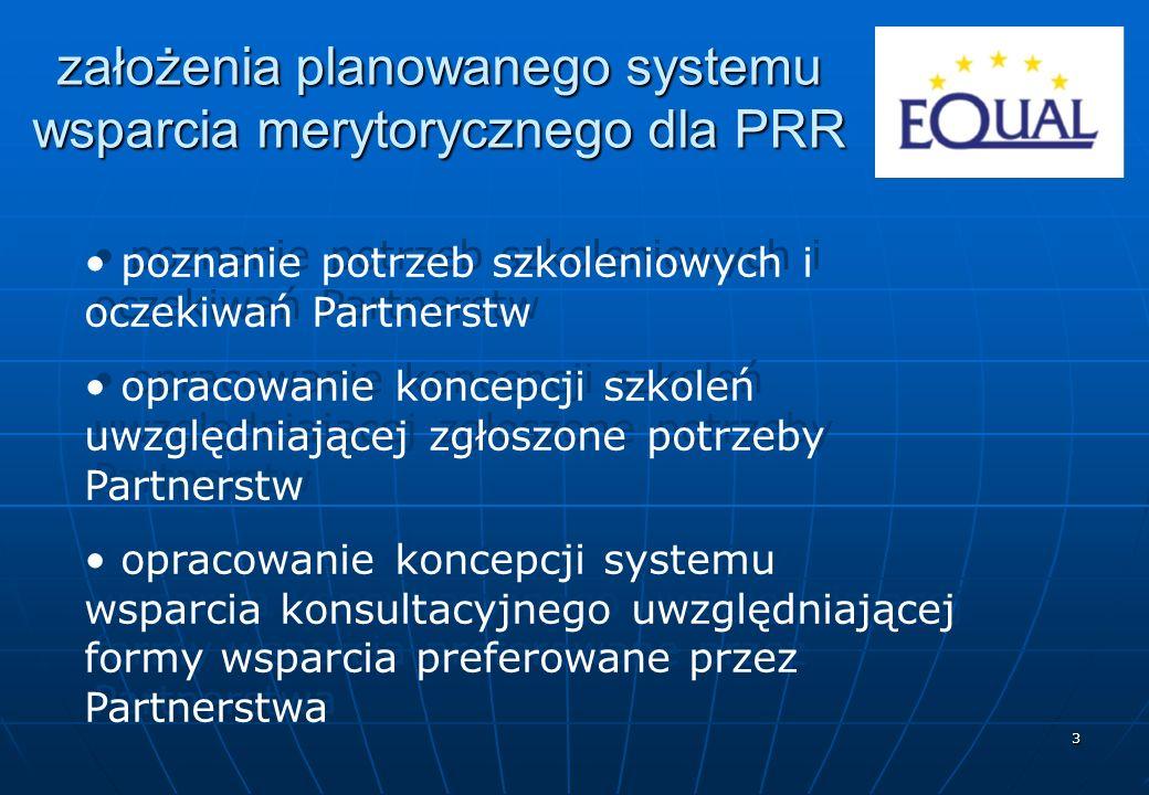 3 założenia planowanego systemu wsparcia merytorycznego dla PRR poznanie potrzeb szkoleniowych i oczekiwań Partnerstw opracowanie koncepcji szkoleń uwzględniającej zgłoszone potrzeby Partnerstw opracowanie koncepcji systemu wsparcia konsultacyjnego uwzględniającej formy wsparcia preferowane przez Partnerstwa poznanie potrzeb szkoleniowych i oczekiwań Partnerstw opracowanie koncepcji szkoleń uwzględniającej zgłoszone potrzeby Partnerstw opracowanie koncepcji systemu wsparcia konsultacyjnego uwzględniającej formy wsparcia preferowane przez Partnerstwa