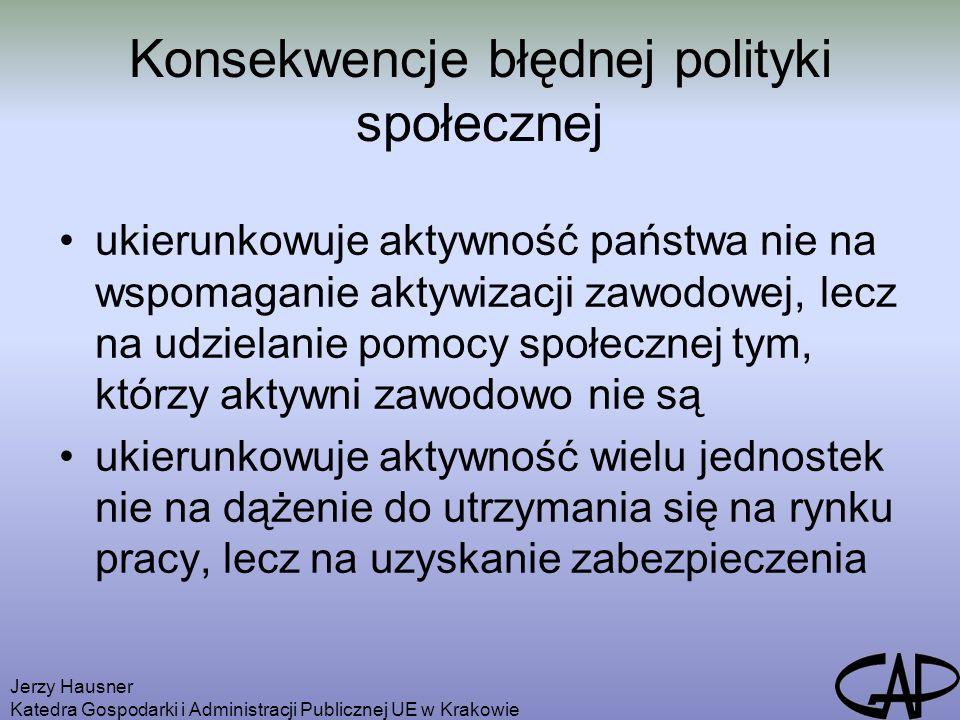 Jerzy Hausner Katedra Gospodarki i Administracji Publicznej UE w Krakowie Konsekwencje błędnej polityki społecznej ukierunkowuje aktywność państwa nie