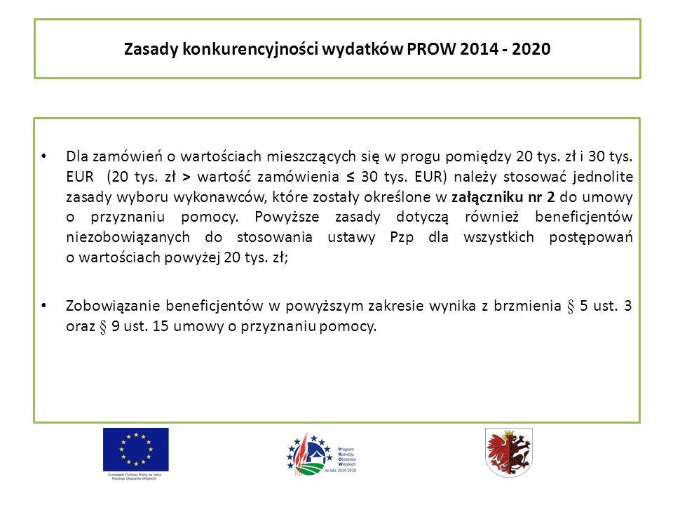 Zasady konkurencyjności wydatków PROW 2014 - 2020 Dla zamówień o wartościach mieszczących się w progu pomiędzy 20 tys.