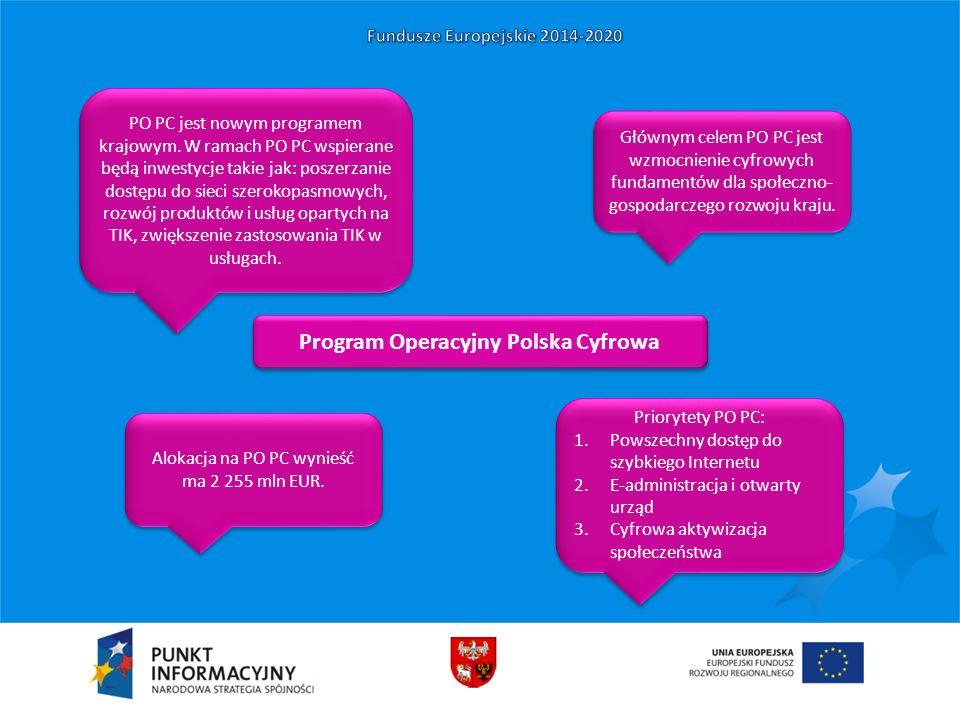Program Operacyjny Polska Cyfrowa PO PC jest nowym programem krajowym. W ramach PO PC wspierane będą inwestycje takie jak: poszerzanie dostępu do siec
