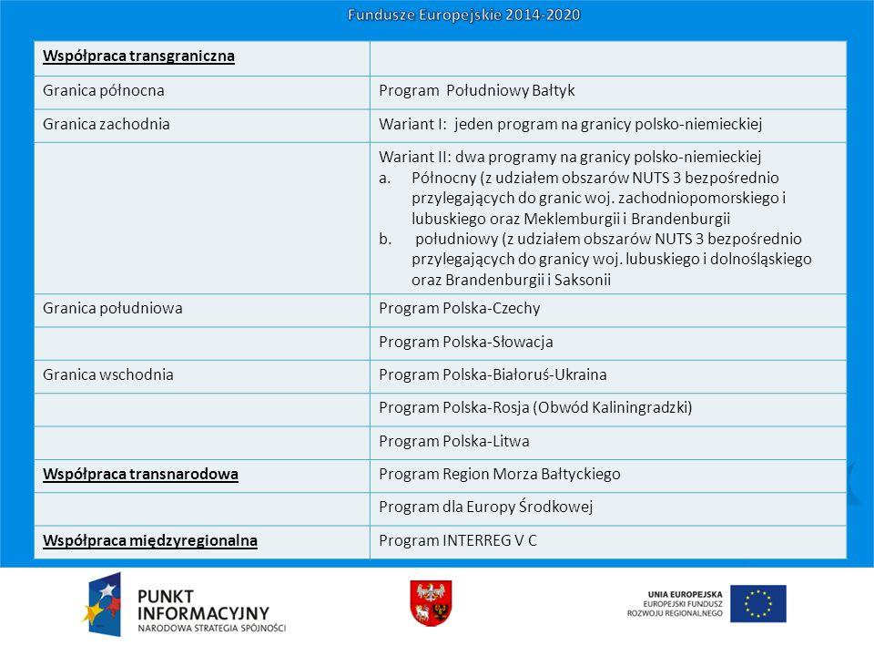 Współpraca transgraniczna Granica północnaProgram Południowy Bałtyk Granica zachodniaWariant I: jeden program na granicy polsko-niemieckiej Wariant II: dwa programy na granicy polsko-niemieckiej a.Północny (z udziałem obszarów NUTS 3 bezpośrednio przylegających do granic woj.