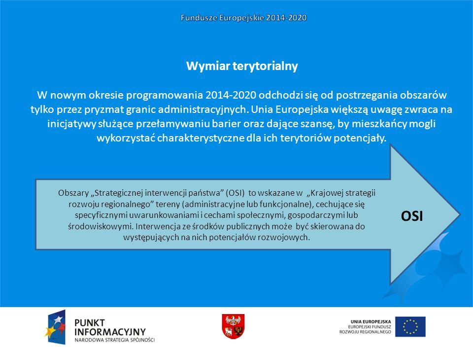 Wymiar terytorialny W nowym okresie programowania 2014-2020 odchodzi się od postrzegania obszarów tylko przez pryzmat granic administracyjnych. Unia E