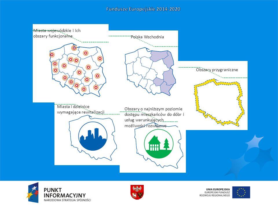 Polska Wschodnia Miasta i dzielnice wymagające rewitalizacji Obszary przygraniczne Obszary o najniższym poziomie dostępu mieszkańców do dóbr i usług w