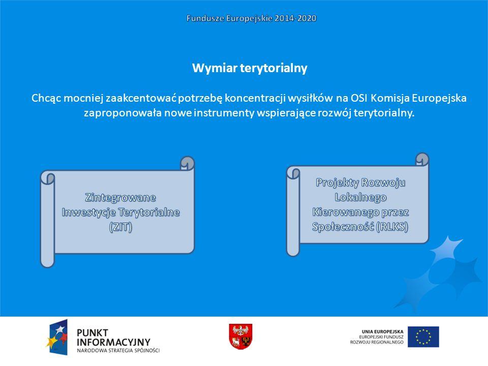 Wymiar terytorialny Chcąc mocniej zaakcentować potrzebę koncentracji wysiłków na OSI Komisja Europejska zaproponowała nowe instrumenty wspierające rozwój terytorialny.