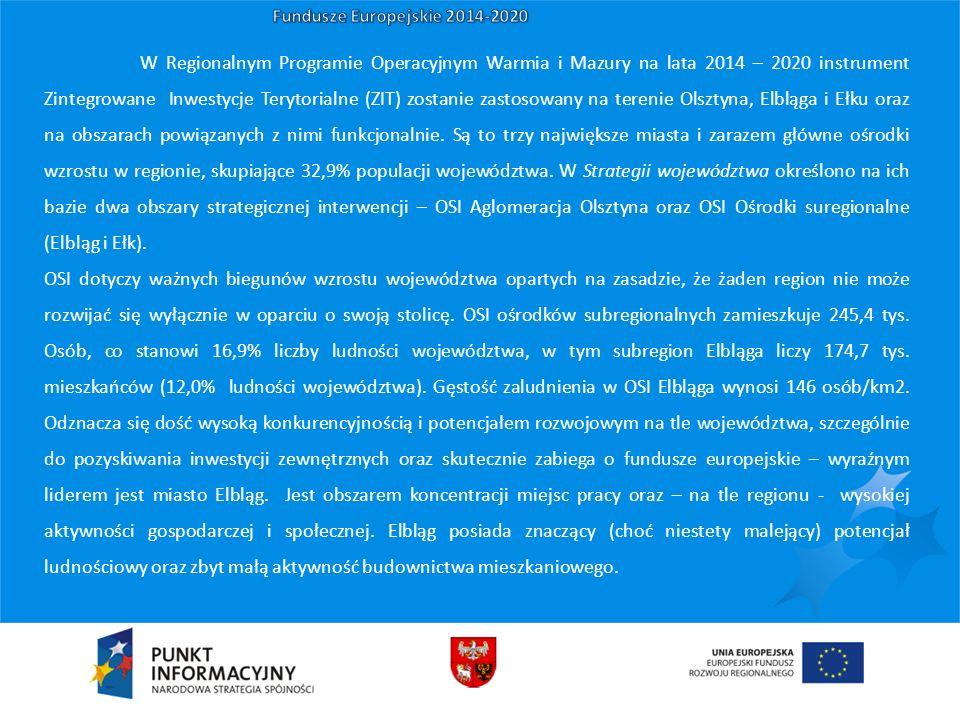 W Regionalnym Programie Operacyjnym Warmia i Mazury na lata 2014 – 2020 instrument Zintegrowane Inwestycje Terytorialne (ZIT) zostanie zastosowany na terenie Olsztyna, Elbląga i Ełku oraz na obszarach powiązanych z nimi funkcjonalnie.