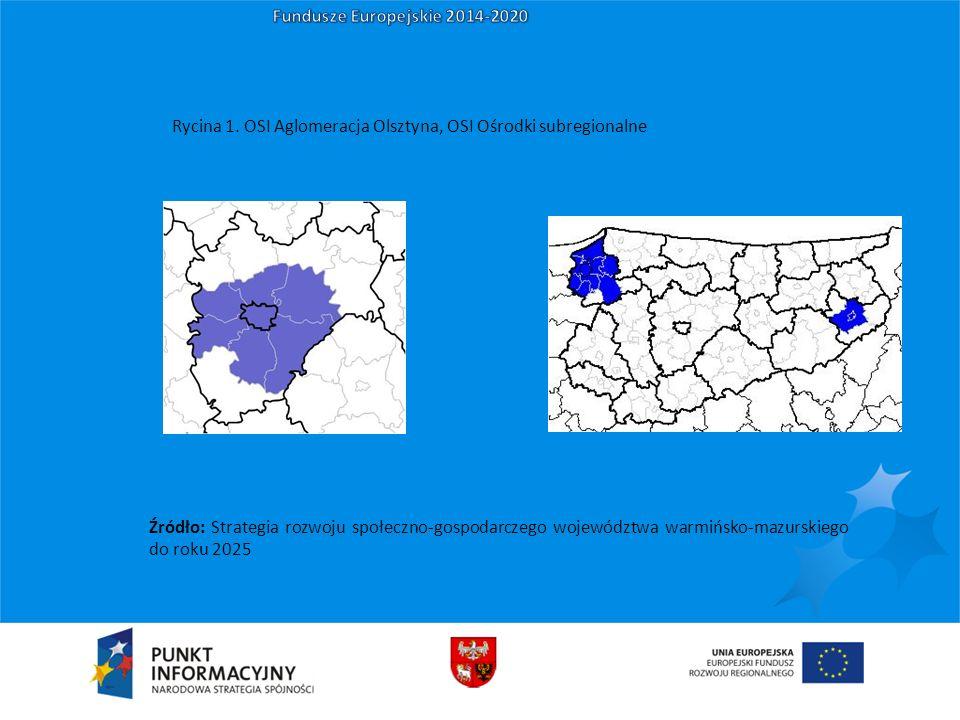 Źródło: Strategia rozwoju społeczno-gospodarczego województwa warmińsko-mazurskiego do roku 2025 Rycina 1. OSI Aglomeracja Olsztyna, OSI Ośrodki subre