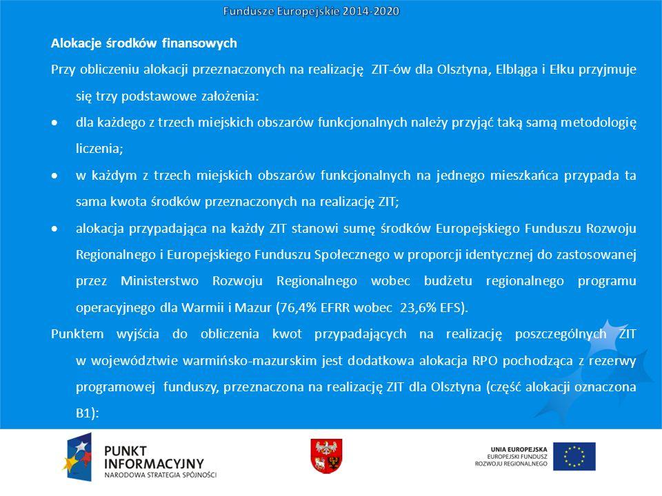 Alokacje środków finansowych Przy obliczeniu alokacji przeznaczonych na realizację ZIT-ów dla Olsztyna, Elbląga i Ełku przyjmuje się trzy podstawowe założenia:  dla każdego z trzech miejskich obszarów funkcjonalnych należy przyjąć taką samą metodologię liczenia;  w każdym z trzech miejskich obszarów funkcjonalnych na jednego mieszkańca przypada ta sama kwota środków przeznaczonych na realizację ZIT;  alokacja przypadająca na każdy ZIT stanowi sumę środków Europejskiego Funduszu Rozwoju Regionalnego i Europejskiego Funduszu Społecznego w proporcji identycznej do zastosowanej przez Ministerstwo Rozwoju Regionalnego wobec budżetu regionalnego programu operacyjnego dla Warmii i Mazur (76,4% EFRR wobec 23,6% EFS).