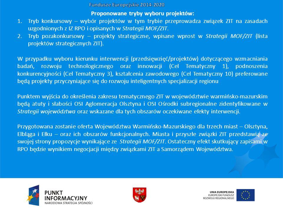 Proponowane tryby wyboru projektów: 1.Tryb konkursowy – wybór projektów w tym trybie przeprowadza związek ZIT na zasadach uzgodnionych z IZ RPO i opisanych w Strategii MOF/ZIT.