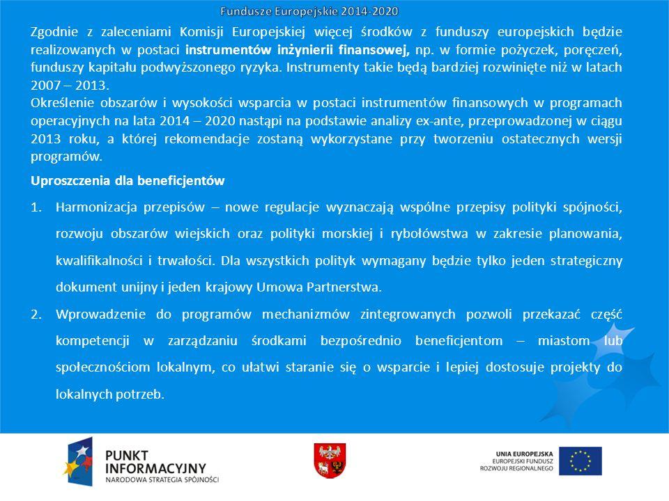 Zgodnie z zaleceniami Komisji Europejskiej więcej środków z funduszy europejskich będzie realizowanych w postaci instrumentów inżynierii finansowej, n