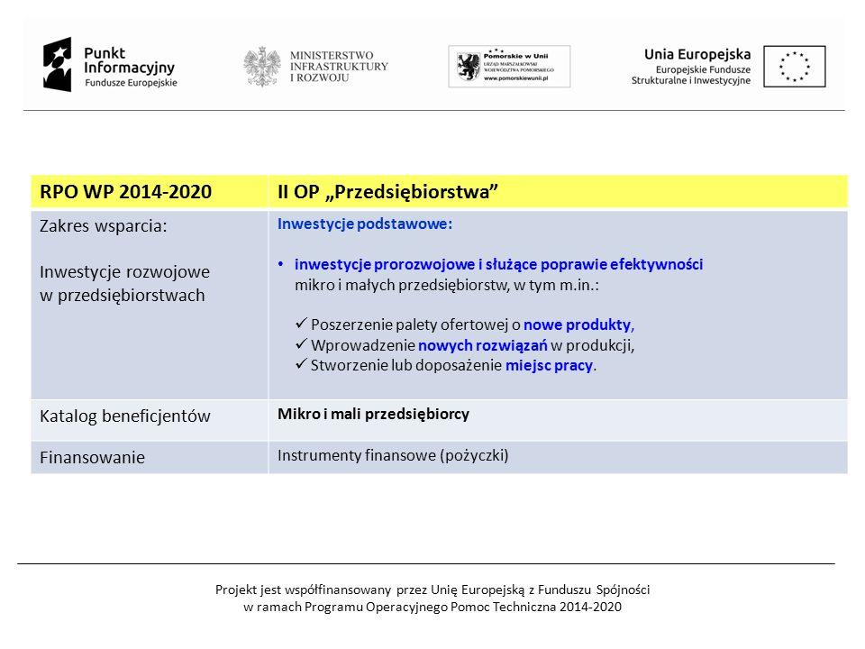 """RPO WP 2014-2020II OP """"Przedsiębiorstwa"""" Zakres wsparcia: Inwestycje rozwojowe w przedsiębiorstwach Inwestycje podstawowe: inwestycje prorozwojowe i s"""