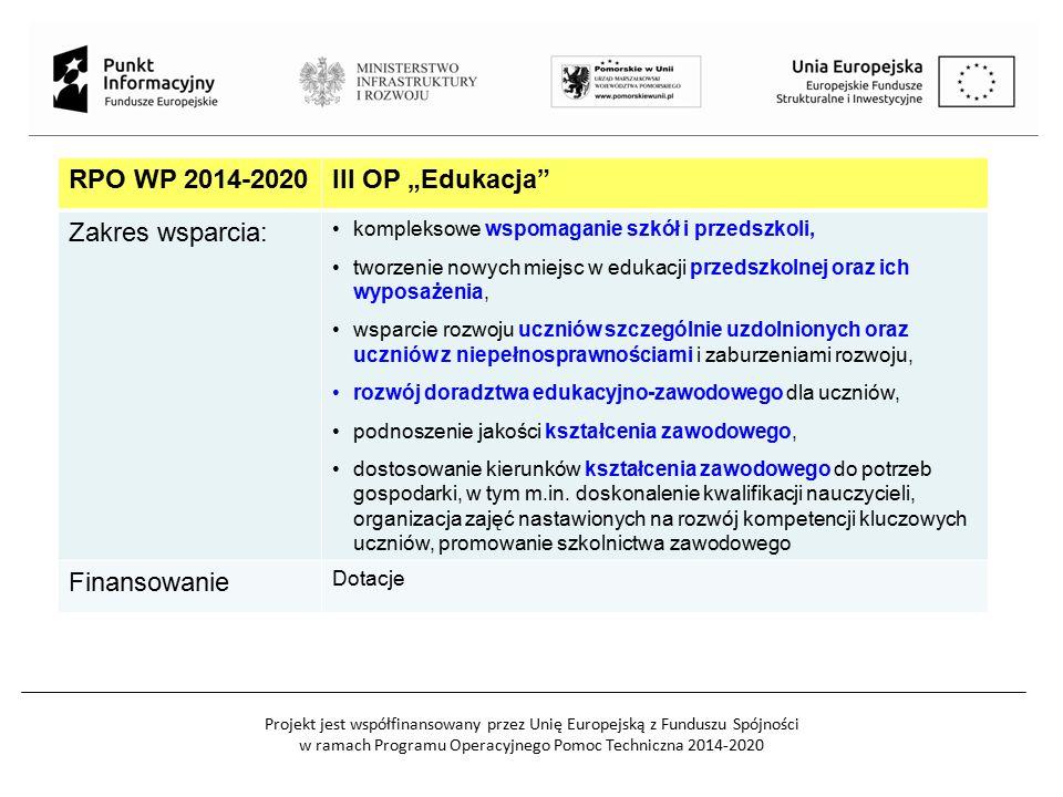 """RPO WP 2014-2020III OP """"Edukacja"""" Zakres wsparcia: kompleksowe wspomaganie szkół i przedszkoli, tworzenie nowych miejsc w edukacji przedszkolnej oraz"""