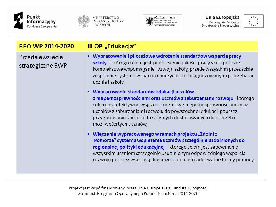 Projekt jest współfinansowany przez Unię Europejską z Funduszu Spójności w ramach Programu Operacyjnego Pomoc Techniczna 2014-2020 RPO WP 2014-2020III