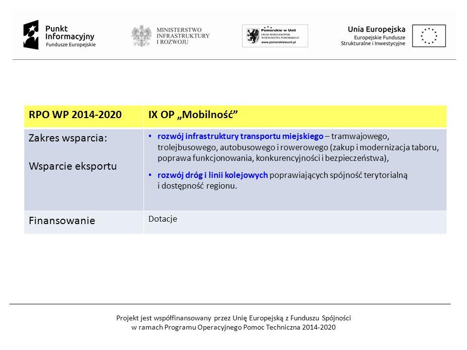 """RPO WP 2014-2020IX OP """"Mobilność"""" Zakres wsparcia: Wsparcie eksportu rozwój infrastruktury transportu miejskiego – tramwajowego, trolejbusowego, autob"""