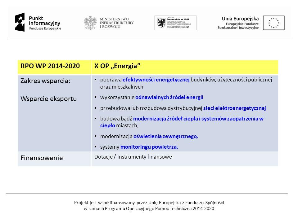"""RPO WP 2014-2020X OP """"Energia"""" Zakres wsparcia: Wsparcie eksportu poprawa efektywności energetycznej budynków, użyteczności publicznej oraz mieszkalny"""