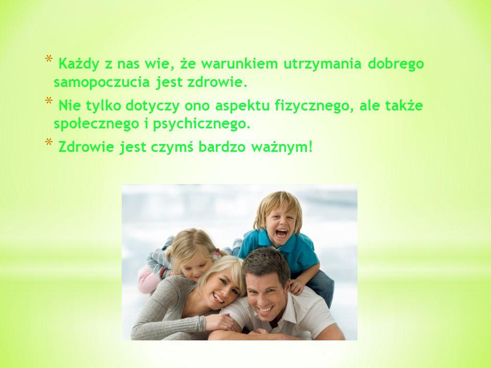 * Każdy z nas wie, że warunkiem utrzymania dobrego samopoczucia jest zdrowie. * Nie tylko dotyczy ono aspektu fizycznego, ale także społecznego i psyc