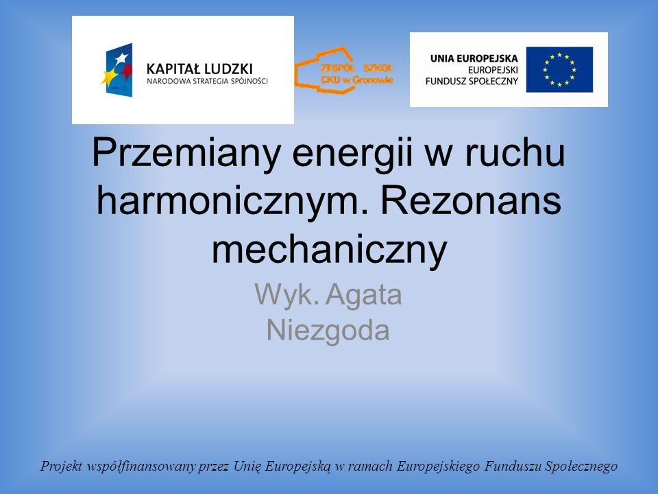 Przemiany energii w ruchu harmonicznym. Rezonans mechaniczny Wyk.