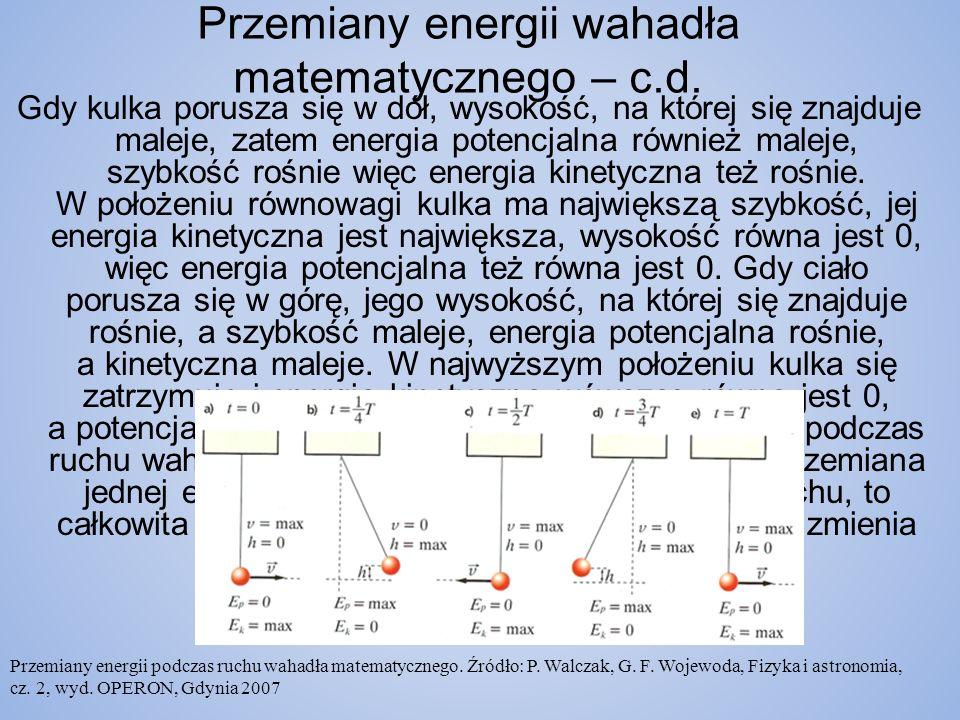 Przemiany energii wahadła matematycznego – c.d.