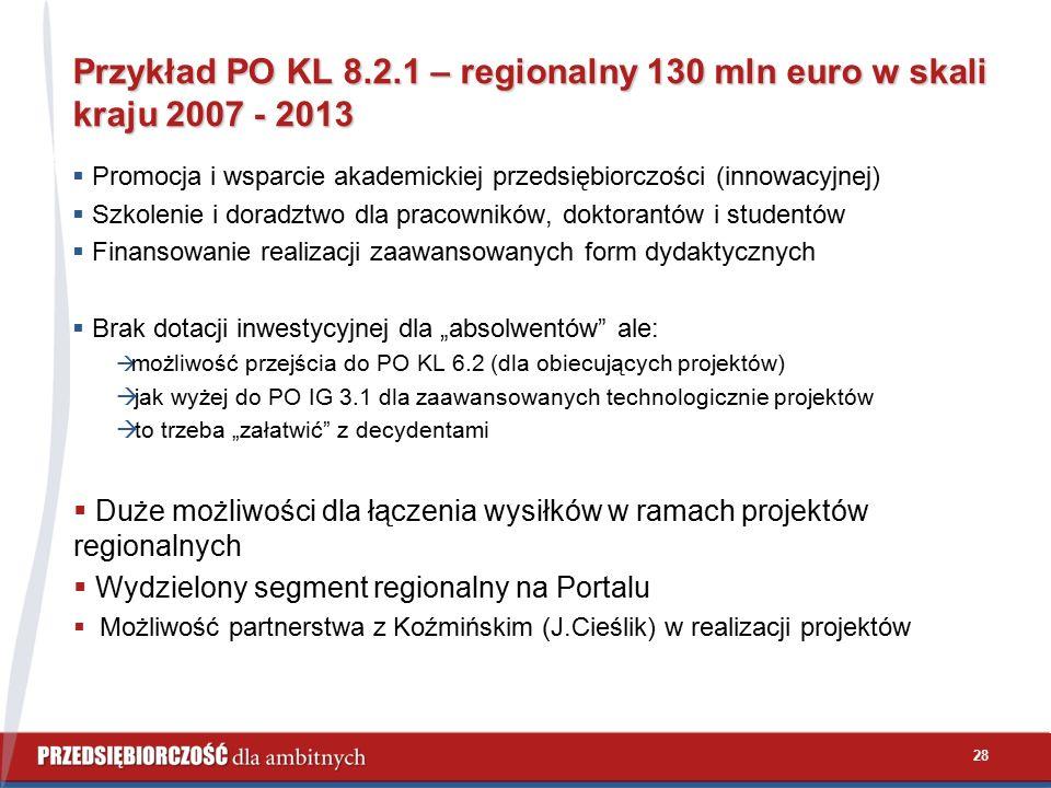 29 Możliwości wykorzystania środków z PO KL 8.2.1