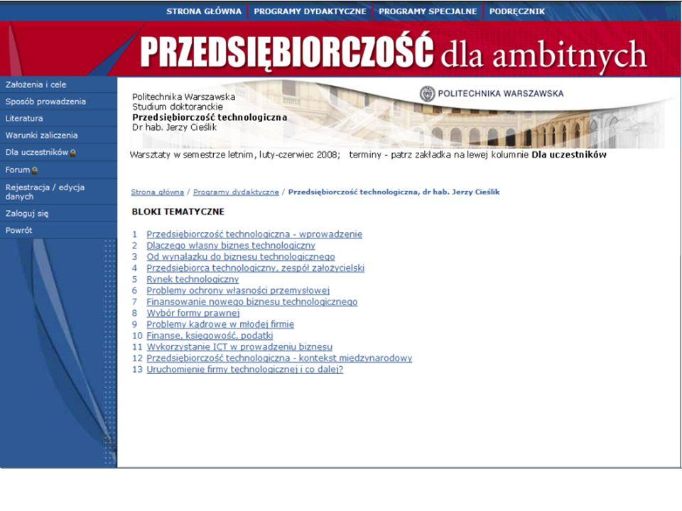 34 Funkcje portalu PORTAL Przedsiębiorczość dla ambitnych Programy specjalne Podręcznik Jak uruchomić własny biznes Dydaktyka w szkołach wyższych Klub Dynamicznego Biznesu ( firmy uruchomione)  Monitoring,  Doradztwo Promocja Kontakty z mediami Obudowa internetowa dla studentów Klub wykładowców Infrastruktura techniczna Bazy materiałów, firm, użytkowników