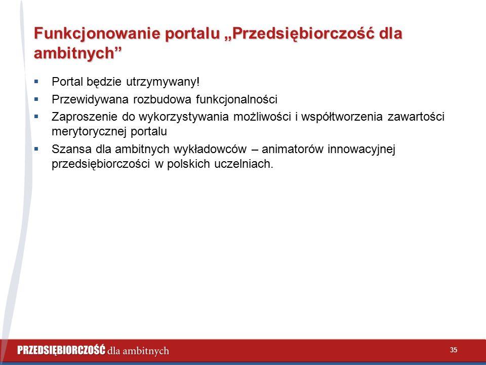 """Funkcjonowanie portalu """"Przedsiębiorczość dla ambitnych  Portal będzie utrzymywany."""