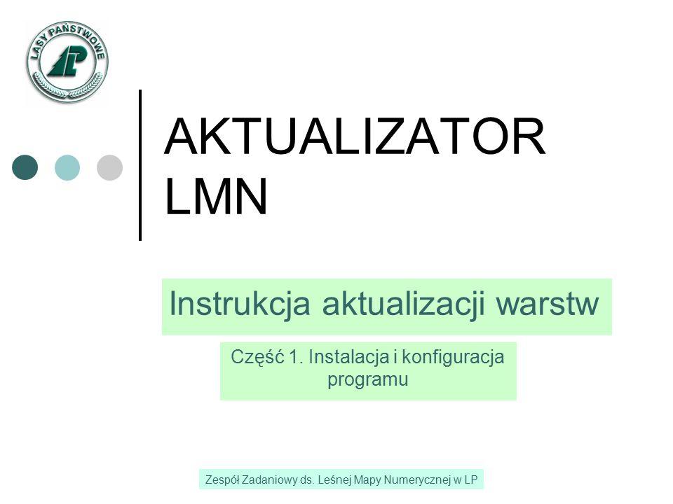 2 Wprowadzenie Aktualizator LMN jest własnością PGL LP i każdy z pracowników może zainstalować oprogramowanie na służbowym komputerze Aktualizator LMN jest podstawowym narzędziem do zarządzania zasobem mapowym w Nadleśnictwie Aktualizator LMN umożliwia import warstw ze struktury wykonawcy do struktury aktualizacji, tworzenie warstw pochodnych, aktualizację warstw jak i eksport ze struktury aktualizacji do struktury wykonawcy Aktualizator LMN wykonany został przez firmę Taxussi Sp.