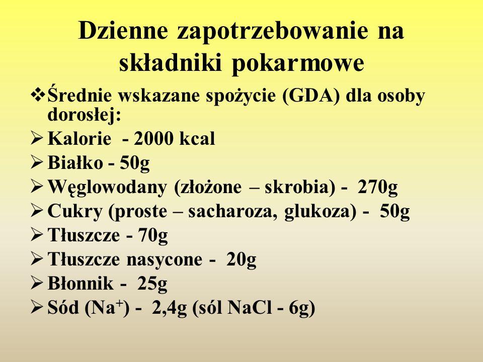 Dzienne zapotrzebowanie na składniki pokarmowe  Średnie wskazane spożycie (GDA) dla osoby dorosłej:  Kalorie - 2000 kcal  Białko - 50g  Węglowodan