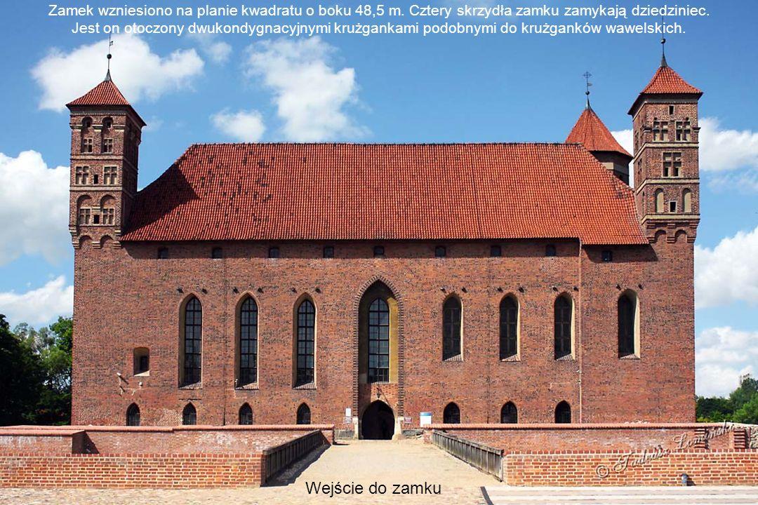 Zamek Biskupów Warmińskich Wejście do zamku Zamek wzniesiono na planie kwadratu o boku 48,5 m.