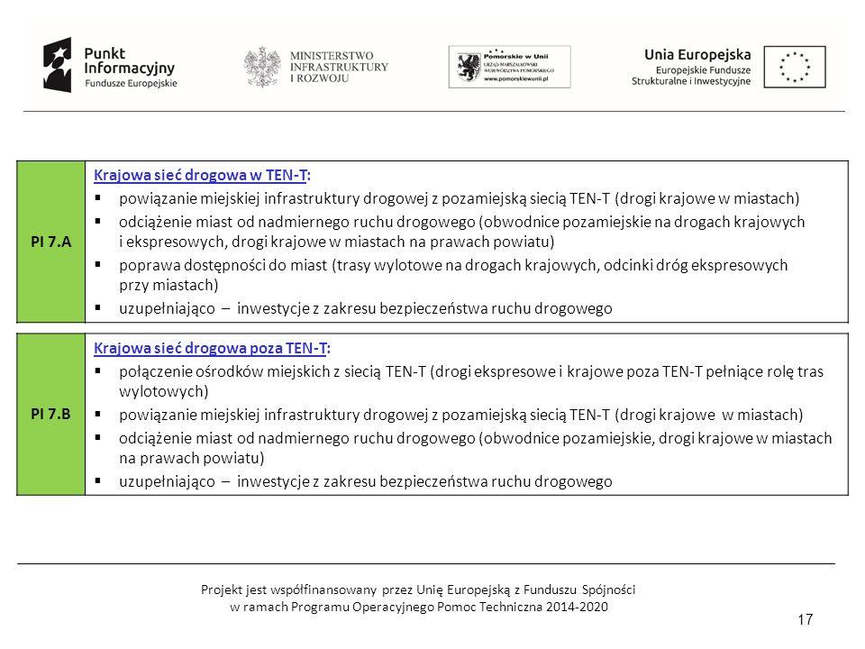 Projekt jest współfinansowany przez Unię Europejską z Funduszu Spójności w ramach Programu Operacyjnego Pomoc Techniczna 2014-2020 17 PI 7.A Krajowa sieć drogowa w TEN-T:  powiązanie miejskiej infrastruktury drogowej z pozamiejską siecią TEN-T (drogi krajowe w miastach)  odciążenie miast od nadmiernego ruchu drogowego (obwodnice pozamiejskie na drogach krajowych i ekspresowych, drogi krajowe w miastach na prawach powiatu)  poprawa dostępności do miast (trasy wylotowe na drogach krajowych, odcinki dróg ekspresowych przy miastach)  uzupełniająco – inwestycje z zakresu bezpieczeństwa ruchu drogowego PI 7.B Krajowa sieć drogowa poza TEN-T:  połączenie ośrodków miejskich z siecią TEN-T (drogi ekspresowe i krajowe poza TEN-T pełniące rolę tras wylotowych)  powiązanie miejskiej infrastruktury drogowej z pozamiejską siecią TEN-T (drogi krajowe w miastach)  odciążenie miast od nadmiernego ruchu drogowego (obwodnice pozamiejskie, drogi krajowe w miastach na prawach powiatu)  uzupełniająco – inwestycje z zakresu bezpieczeństwa ruchu drogowego
