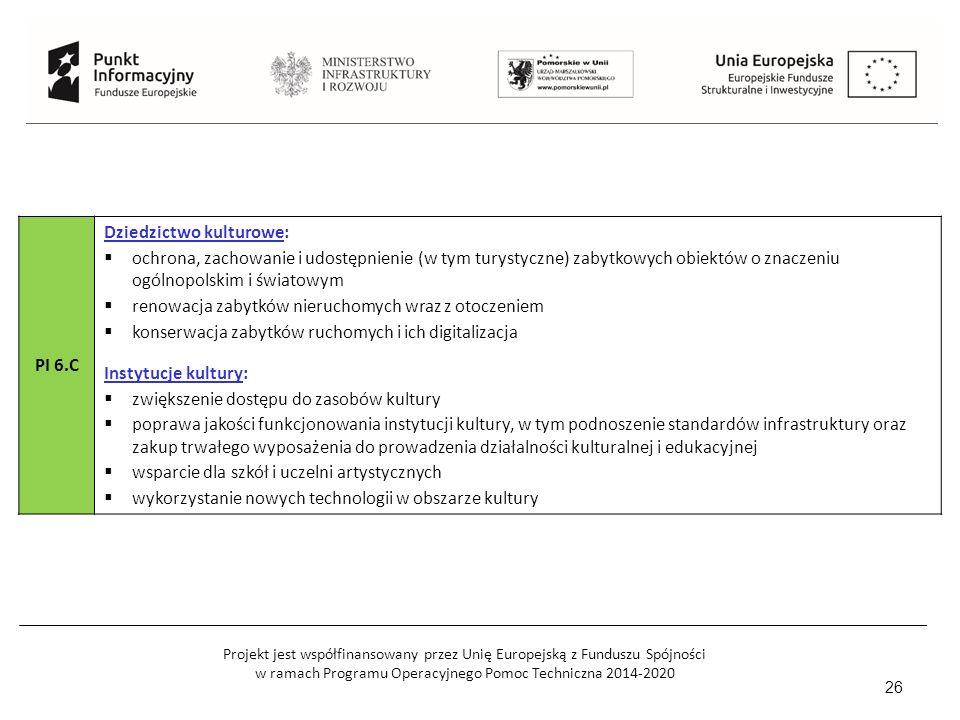Projekt jest współfinansowany przez Unię Europejską z Funduszu Spójności w ramach Programu Operacyjnego Pomoc Techniczna 2014-2020 26 PI 6.C Dziedzictwo kulturowe:  ochrona, zachowanie i udostępnienie (w tym turystyczne) zabytkowych obiektów o znaczeniu ogólnopolskim i światowym  renowacja zabytków nieruchomych wraz z otoczeniem  konserwacja zabytków ruchomych i ich digitalizacja Instytucje kultury:  zwiększenie dostępu do zasobów kultury  poprawa jakości funkcjonowania instytucji kultury, w tym podnoszenie standardów infrastruktury oraz zakup trwałego wyposażenia do prowadzenia działalności kulturalnej i edukacyjnej  wsparcie dla szkół i uczelni artystycznych  wykorzystanie nowych technologii w obszarze kultury