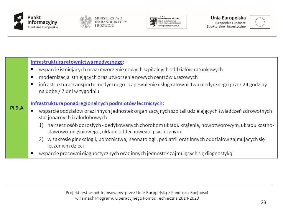 Projekt jest współfinansowany przez Unię Europejską z Funduszu Spójności w ramach Programu Operacyjnego Pomoc Techniczna 2014-2020 28 PI 9.A Infrastruktura ratownictwa medycznego:  wsparcie istniejących oraz utworzenie nowych szpitalnych oddziałów ratunkowych  modernizacja istniejących oraz utworzenie nowych centrów urazowych  infrastruktura transportu medycznego - zapewnienie usług ratownictwa medycznego przez 24 godziny na dobę / 7 dni w tygodniu Infrastruktura ponadregionalnych podmiotów leczniczych:  wsparcie oddziałów oraz innych jednostek organizacyjnych szpitali udzielających świadczeń zdrowotnych stacjonarnych i całodobowych 1)na rzecz osób dorosłych - dedykowanych chorobom układu krążenia, nowotworowym, układu kostno- stawowo-mięśniowego, układu oddechowego, psychicznym 2)w zakresie ginekologii, położnictwa, neonatologii, pediatrii oraz innych oddziałów zajmujących się leczeniem dzieci  wsparcie pracowni diagnostycznych oraz innych jednostek zajmujących się diagnostyką