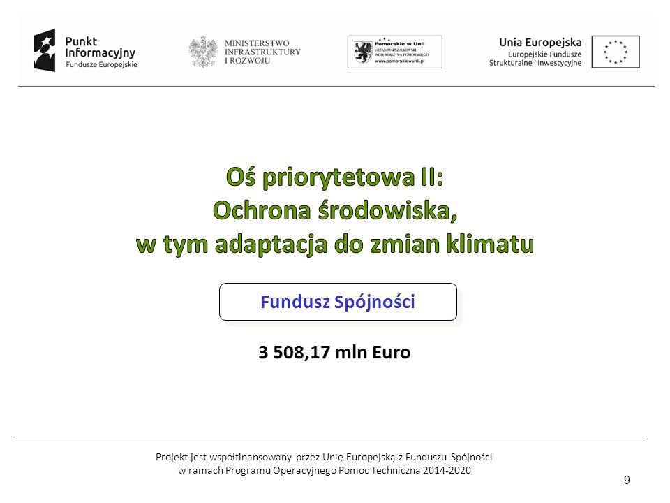 Projekt jest współfinansowany przez Unię Europejską z Funduszu Spójności w ramach Programu Operacyjnego Pomoc Techniczna 2014-2020 9 Fundusz Spójności