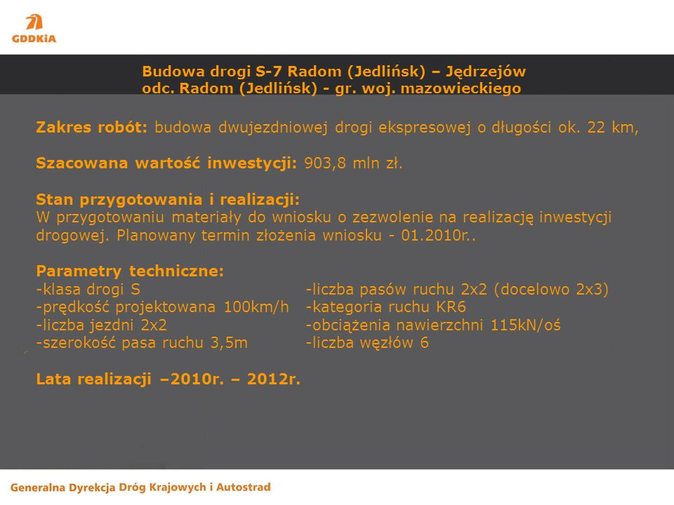 Budowa drogi S-7 Radom (Jedlińsk) – Jędrzejów odc.