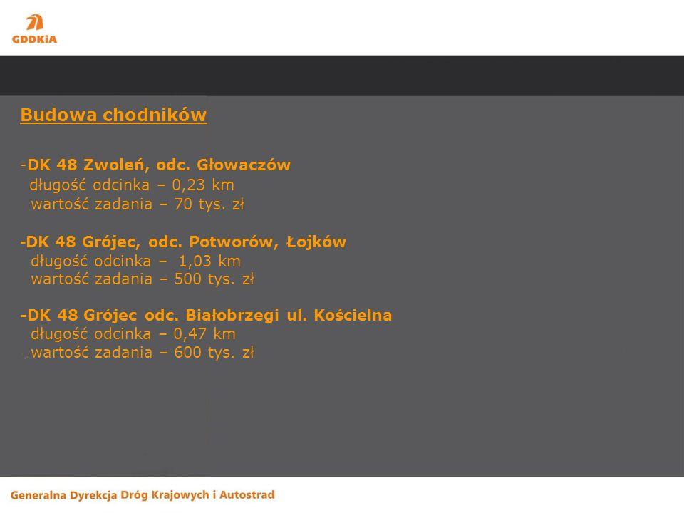 Budowa chodników -DK 48 Zwoleń, odc. Głowaczów długość odcinka – 0,23 km wartość zadania – 70 tys.